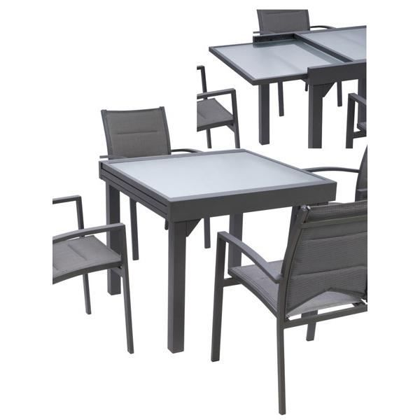 table modulo grise 4 8 personnes achat vente table de jardin table modulo grise 4 8 pers. Black Bedroom Furniture Sets. Home Design Ideas