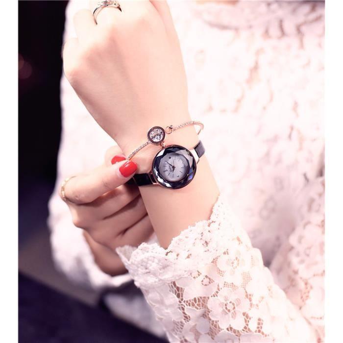 MONTRE Montre Femme à Quartz Bracelet Cuir Noir