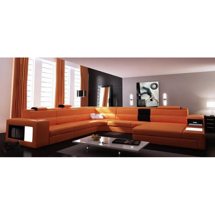 canap panoramique cuir orange angle droit achat vente canap sofa divan cuir bois. Black Bedroom Furniture Sets. Home Design Ideas