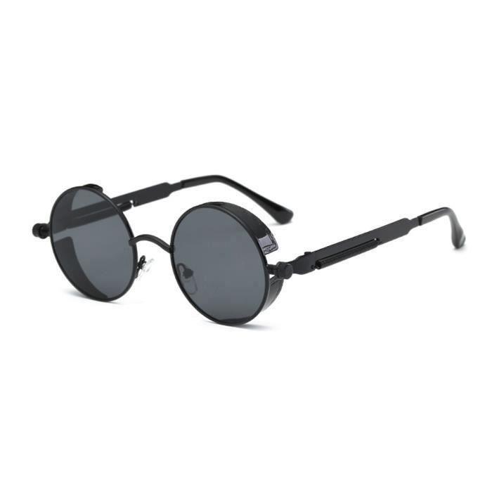 Argent miroir Steampunk Lunettes Cyber Rondes Rétro Goggles Blinder Lunettes de soleil