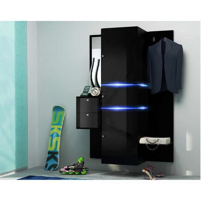 doxled 2 meuble d 39 entree ultra gloss noir led achat. Black Bedroom Furniture Sets. Home Design Ideas