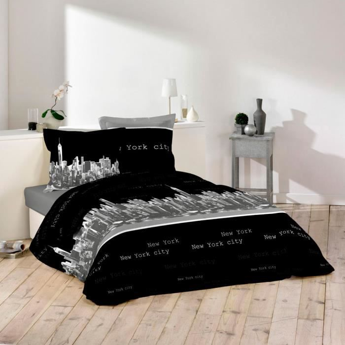 housse couette new york achat vente housse couette new york pas cher soldes d s le 10. Black Bedroom Furniture Sets. Home Design Ideas