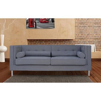 canap fixe 2 places en polyester coloris gris achat vente canap sofa divan cdiscount. Black Bedroom Furniture Sets. Home Design Ideas