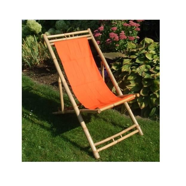 Chaise de bambou en orange pont r glable hauteur de la for Chaise longue bambou