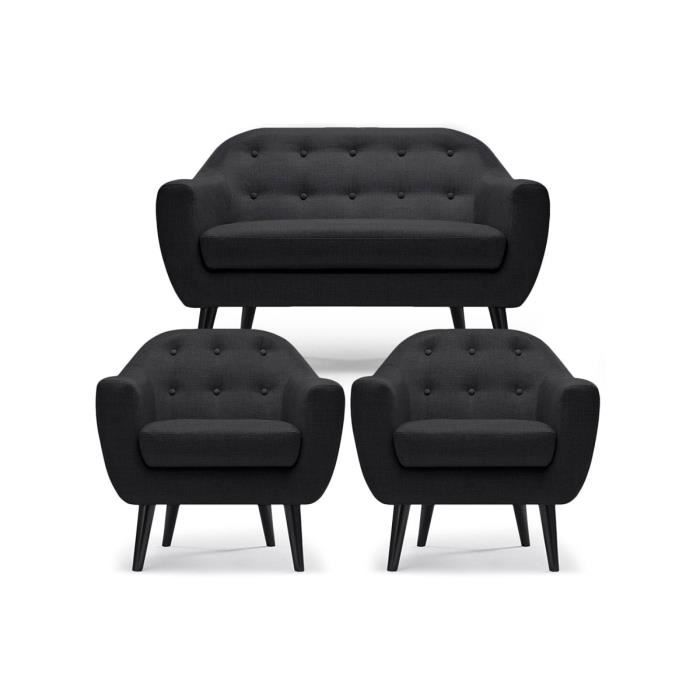 Ensemble canap 2 places 2 fauteuils noir empoli achat vente salon comp - Canape 2 places occasion ...