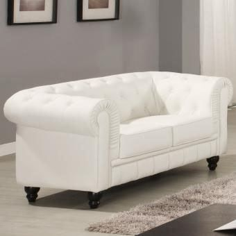 Canape chesterfield blanc capitonne 2 places achat vente canap sofa - Canape chesterfield 2 places ...