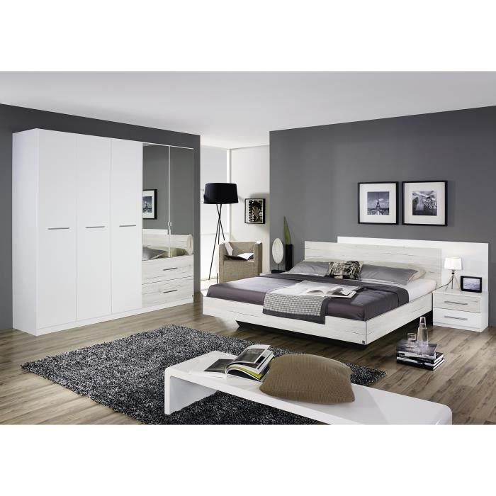 Chambre adulte contemporaine ch ne clair blanc galva ii for Chambre contemporaine adulte