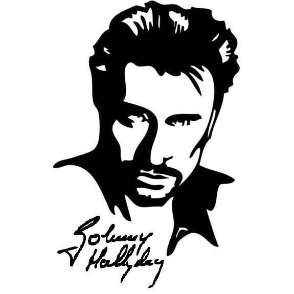 Tee Shirt Portrait Johnny Hallyday Signature 100 Coton Blanc