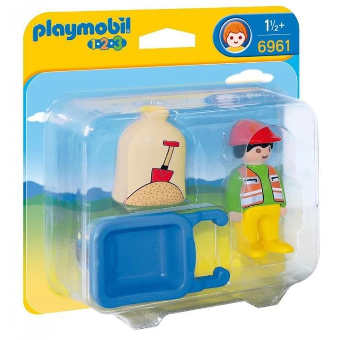 UNIVERS MINIATURE Playmobil 1.2.3 Travailleur avec chariot