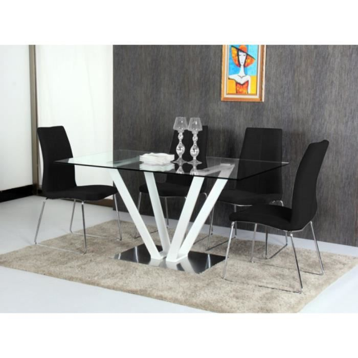 Table manger cleonice 6 couverts verre tremp et for Table a manger 12 couverts