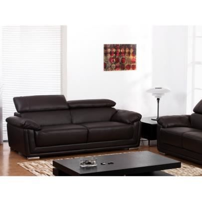 canap 3 places cuir de vachette mishka chocolat achat. Black Bedroom Furniture Sets. Home Design Ideas