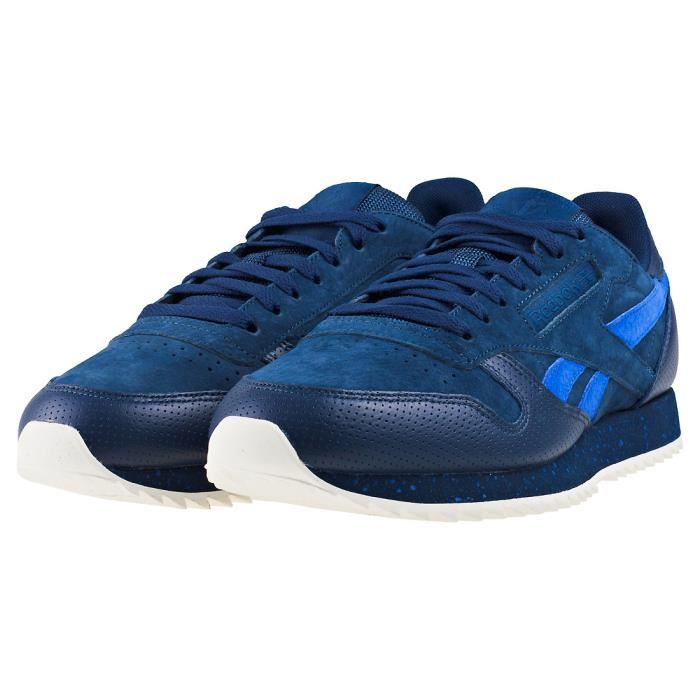 Reebok Classic Leather Ripple Sm Hommes Baskets Bleu marin - 10 UK CeV1aux
