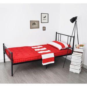 STRUCTURE DE LIT Lit enfant 90x190cm Noir - Cadre de lit en métal