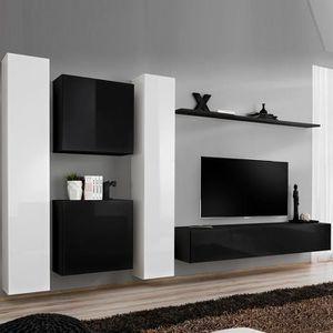 MEUBLE TV Ensemble meuble télé blanc et noir GINOSA Noir L 3