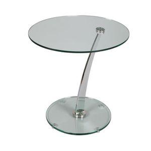 TABLE D'APPOINT Guéridon en verre trempé 60x50x55 cm - GLASS