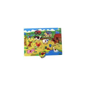 PUZZLE Puzzle Bouton En Bois Animaux De La Ferme 10 Piece