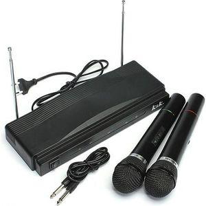 MICROPHONE - ACCESSOIRE 2x PRO Microphone Sans Fil Micro FM pour Chant DJ
