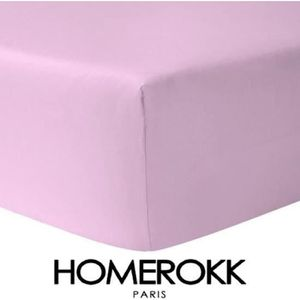 DRAP HOUSSE Drap Housse 160 x 200 - ROSE PALE 100% coton 57 fi