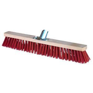 Balai cantonnier PVC rouge 120 cm monture bois douille m/étal 28 mm sortie fibres 75 mm