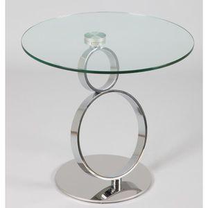 TABLE D'APPOINT Guéridon rond en verre trempé, Ht 540 x D 600 mm