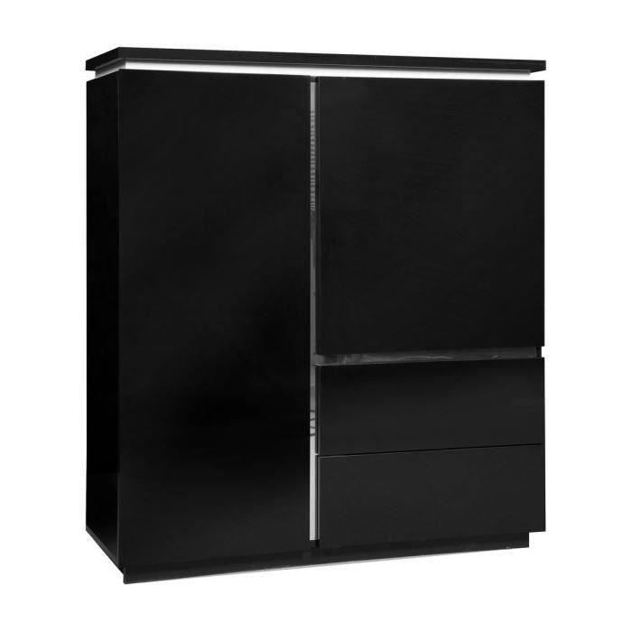 buzz buffet haut 110 cm laqu noir achat vente buffet bahut buzz meuble tag re 110 cm. Black Bedroom Furniture Sets. Home Design Ideas