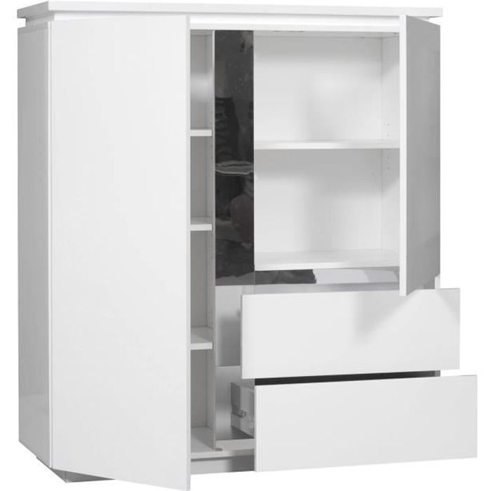 Buzz buffet 110 cm laqu blanc achat vente buffet for Meuble tv 110 cm fly