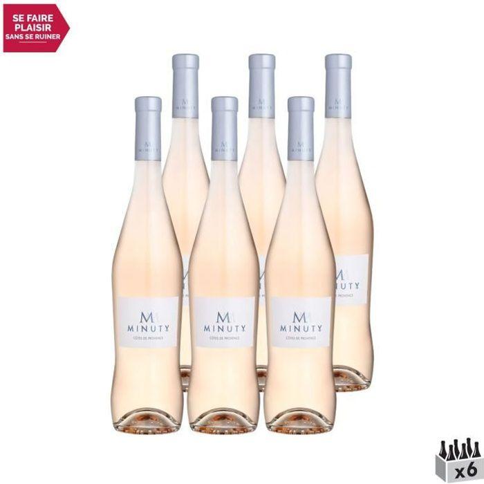Côtes de Provence M de Minuty Rosé 2020 - Lot de 6x75cl - Château Minuty - Vin AOC Rosé de Provence - Cépages Grenache, Syrah, Cinsa