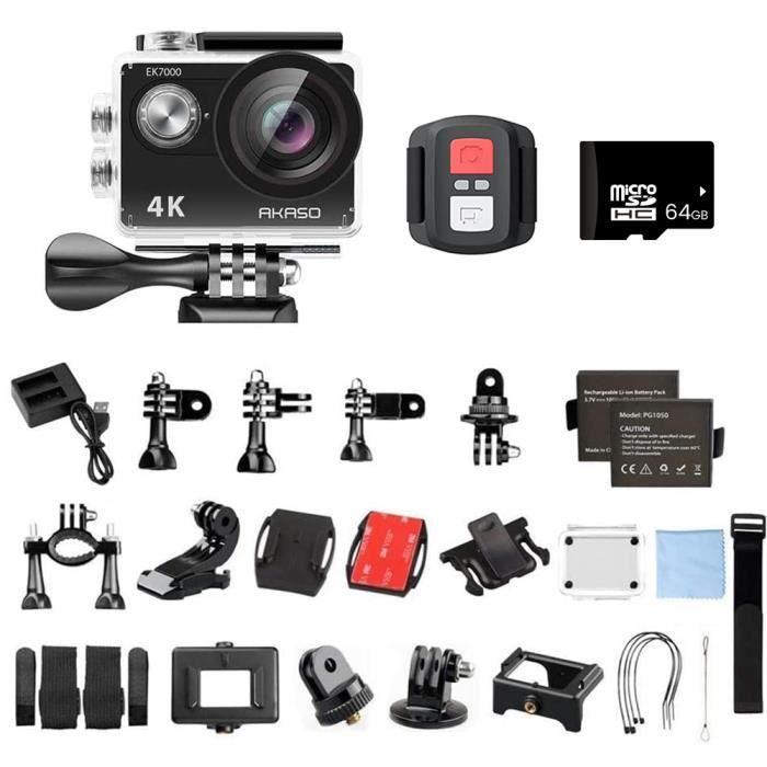 AKASO EK7000 Caméra Sport Etanche 4K WiFi Action Cam 30fps, Caméscope Ultra HD, Écran LCD, 170°, 19 Kits d'Accessoires - Noir
