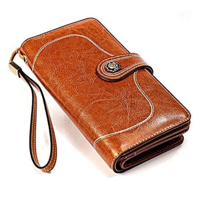 Porte-Cartes FHST9 Portefeuille en cuir Geniune Porte-cartes de crédit à blocage RFID de grande capacité f