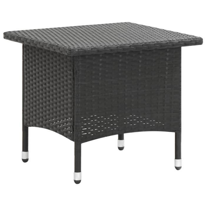 MAG��- Table basse de jardin Table à thé Table d'extérieur pour Jardin, Terrasse Noir 50x50x47 cm Résine tressée♫5401