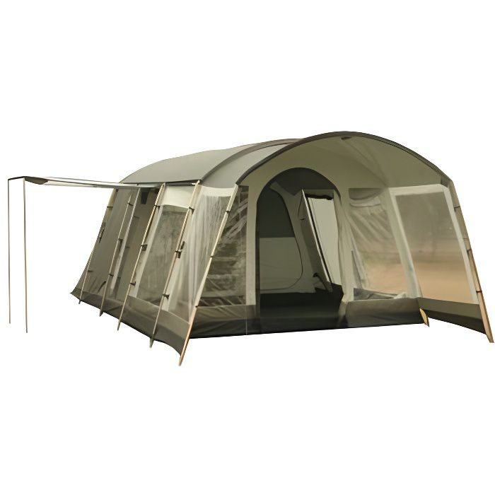 Grande tente familiale tunnel, armature en acier et raidisseurs extérieurs alu, tapis cousu, double toit polyester oxford 210D.