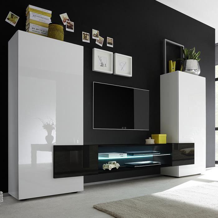 Ensemble meubles TV blanc et noir laqué brillant EROS 3 Sans L 258 x P 37 x H 143 cm Blanc