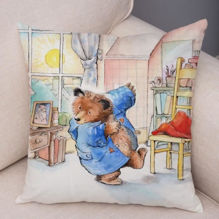 20 450mm*450mm -Doux peluche royaume uni dessin animé ours housse de coussin pour canapé enfants chambre décor mignon Animal taie d&