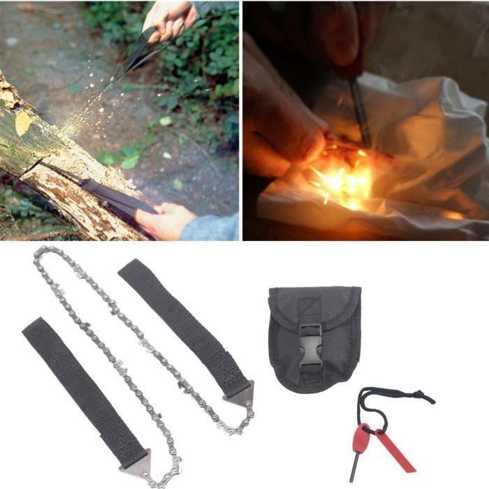 Fournitures de camping Chaîne de main portable outil scie fil Allume-feu Camping Randonnée d'urgence extérieure65870