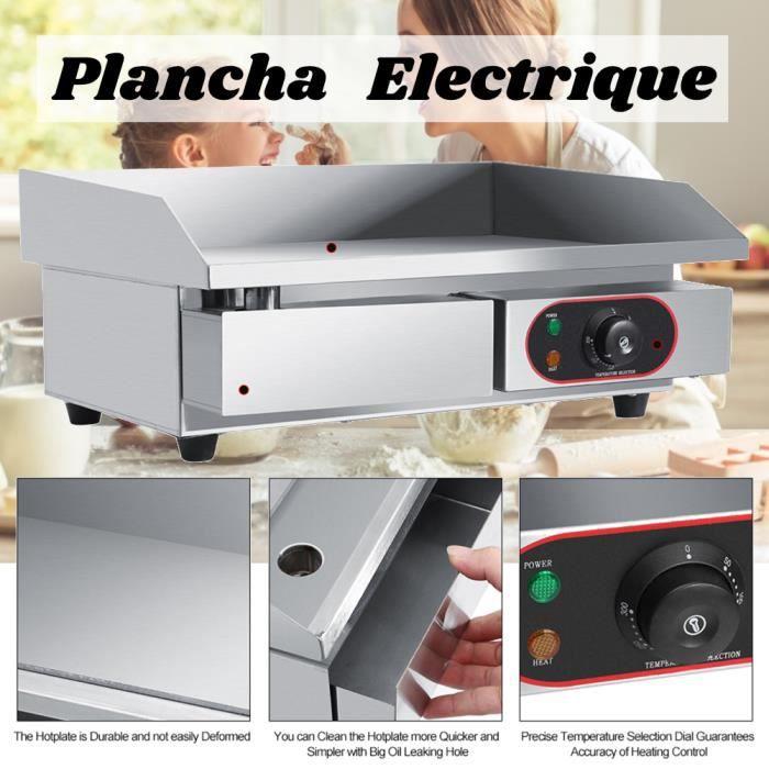 XIXI Plancha de Table Electrique en Inox, Plancha Electrique Professionnelle Plaque Chauffante Electrique Commerciale
