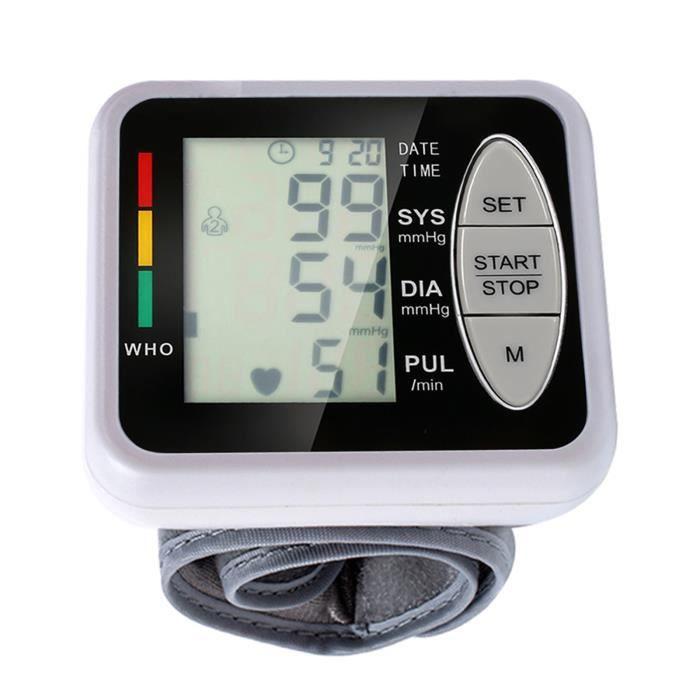 Poignet portable Sphygmomanomètre électronique Tensiomètre automatique Grand écran LCD Soins à domicile Voyant tricolore