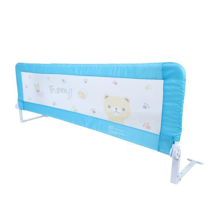 180 x 64 cm Barrière de sécurité de lit enfant Pliant Barrière De Lit Enfants Bébés Protection Barrière de lit Bleu HB015