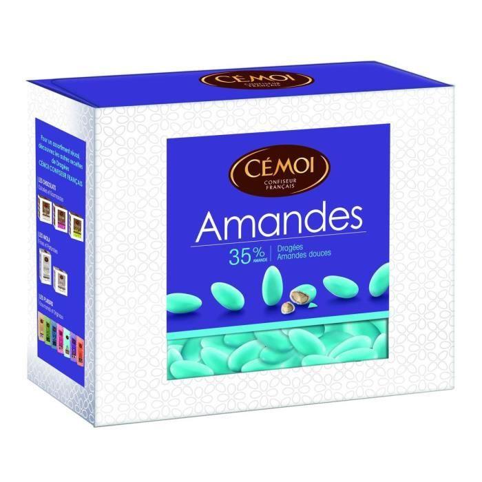CEMOI Boîte Dragées Amandes turquoise 35 % - 375 g