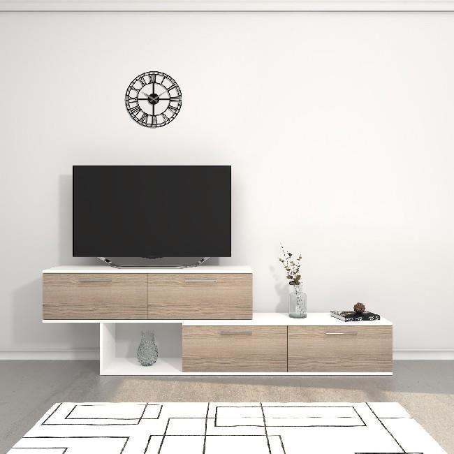 HOMEMANIA Meuble TV Antipodi - avec portes, étagères - Salon - Blanc, Cordoue en Panneau de mélamine, 200 x 30 x 60,