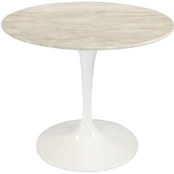 Table ronde de repas design TULIPE plateau en marbre gris beige 90 cm. marron fibre de verre Inside75