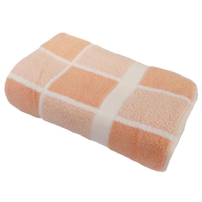 LINANDELLE - Drap de bain coton bouclette éponge Carreaux CELESTE - Saumon - 100x150 cm