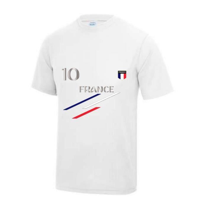 Maillot - Tee shirt foot France 2 étoiles enfant blanc Taille de 3 à 13 ans