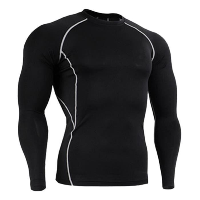 Homme T-Shirt De Compression À Manches Longues Sports Séchage Rapide Baselayer Gris Longue M