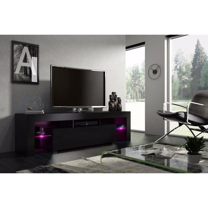 Meuble tv 160 cm noir mat et noir laqué avec led