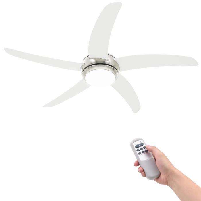 Ventilateur de plafond orné avec lampe 128 cm Blanc