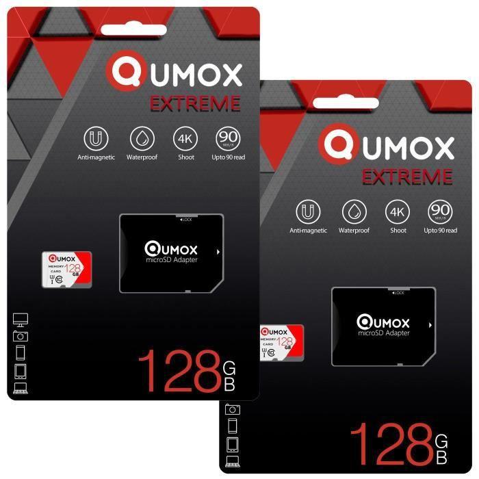 2Pcs Qumox Extreme carte mémoire 128Go Micro Sd/Sdxc classe 10 Uhs I pour téléphone Android Samsung Huawei Xiaomi +adaptateur Sd
