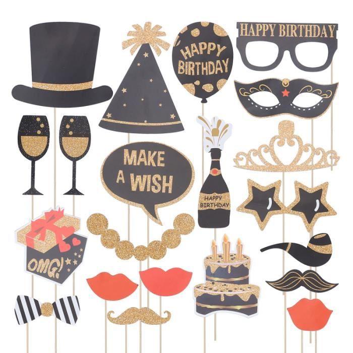 22 pcs Papier Glitter 30 Ans Fête D'anniversaire Cadre Photo Accessoires Props Verres FLEUR-PLANTE ARTIFICIELLE - FLEUR SECHEE