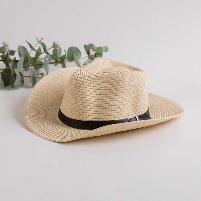 CHAPEAU - BOB  Chapeau Cowboy Paille Homme Femme Beige