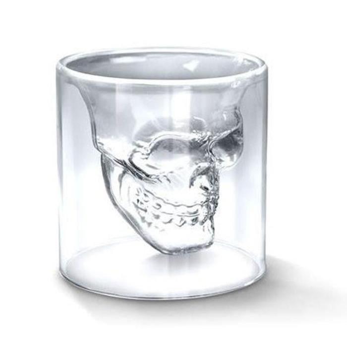 Verre à vin MEMEDA 4 × Verre à Vin Skull Head 75ml Forme de Cr