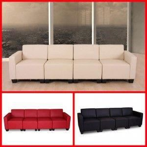 canap lounge 4 places lyon simili cuir rouge achat vente canap sofa divan cadeaux de. Black Bedroom Furniture Sets. Home Design Ideas
